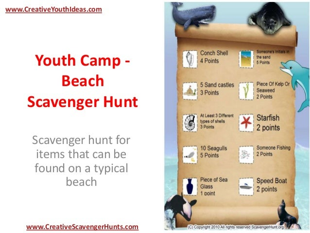 Youth Camp - Beach Scavenger Hunt Scavenger hunt for items that can be found on a typical beach www.CreativeYouthIdeas.com...