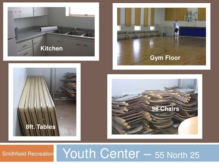 Kitchen <br />Gym Floor<br />98 Chairs <br />8ft. Tables<br />Youth Center – 55 North 25 West<br />Smithfield Recreation<b...