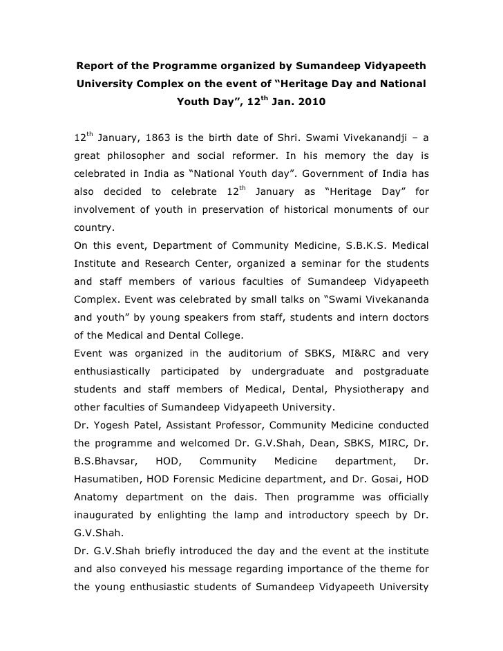 """Report of the Programme organized by Sumandeep Vidyapeeth University Complex on the event of """"Heritage Day and National   ..."""