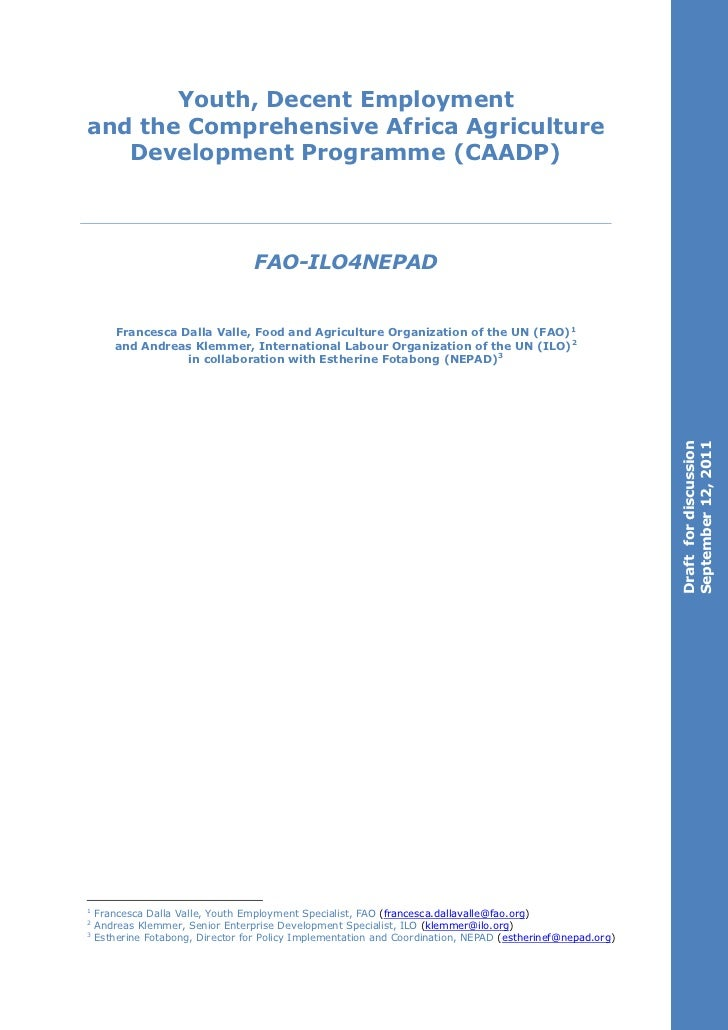 Youth, Decent Employmentand the Comprehensive Africa Agriculture   Development Programme (CAADP)                          ...