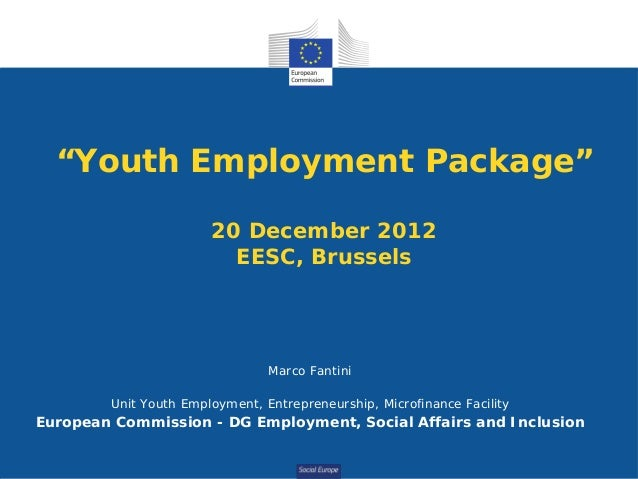 """Youth Employment Package""                       20 December 2012                         EESC, Brussels                  ..."