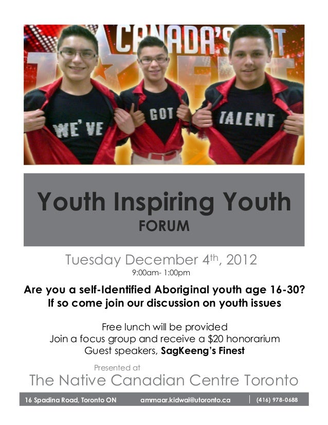 Youth Inspiring Youth                               FORUM            Tuesday December 4th, 2012                           ...