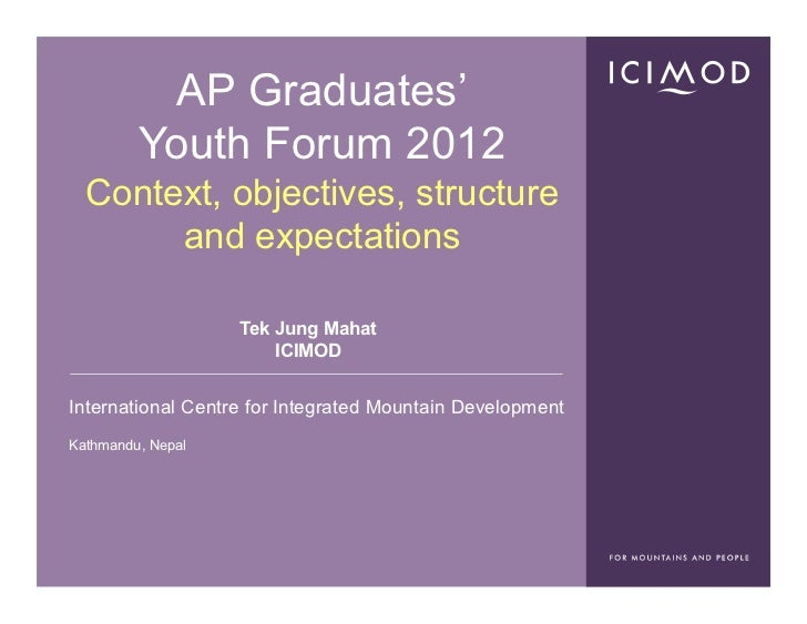 AP Graduates'         Youth Forum 2012  Context, objectives, structure       and expectations                   Tek Jung M...
