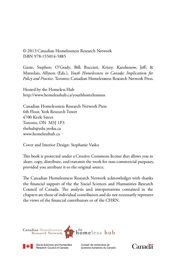homelessness among youth in canada social work essay Positive attitudes between social workers and lawyers1 in separate studies   canadian social work review, volume 8, number 1 (winter 1991) / revue   worker - the poor, the homeless, the mentally and physically dis-  seek youth  protection or court intervention, the operation of the  social work/law research  essay.
