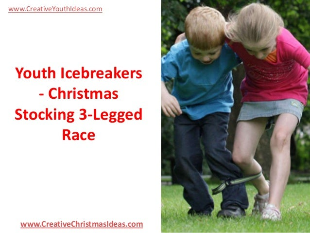www.CreativeYouthIdeas.com  Youth Icebreakers - Christmas Stocking 3-Legged Race  www.CreativeChristmasIdeas.com