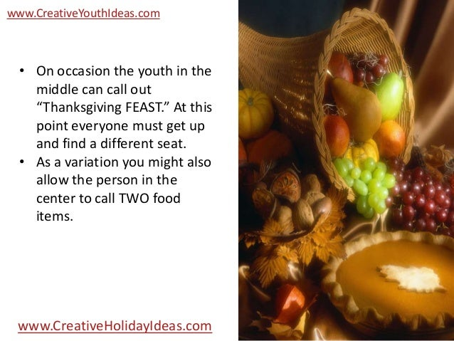 Youth Icebreakers Fruit Basket Turnover Thanksgiving Version
