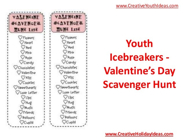 Youth Icebreakers - Valentine's Day Scavenger Hunt