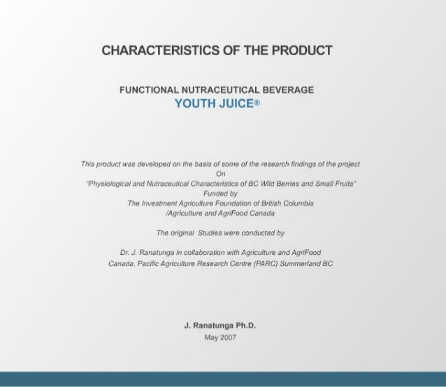 Youth Juice - Functional Nutraceutical Findings