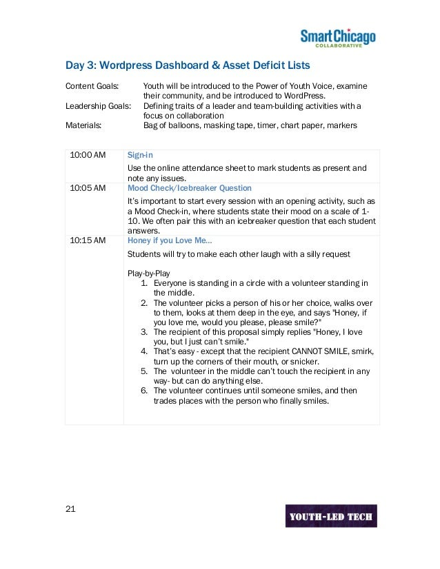 Youth Led Tech Curriculum All Days Pdf