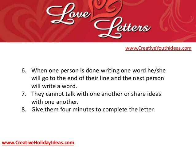 Youth Ministry Ideas Valentine S Day Love Letters