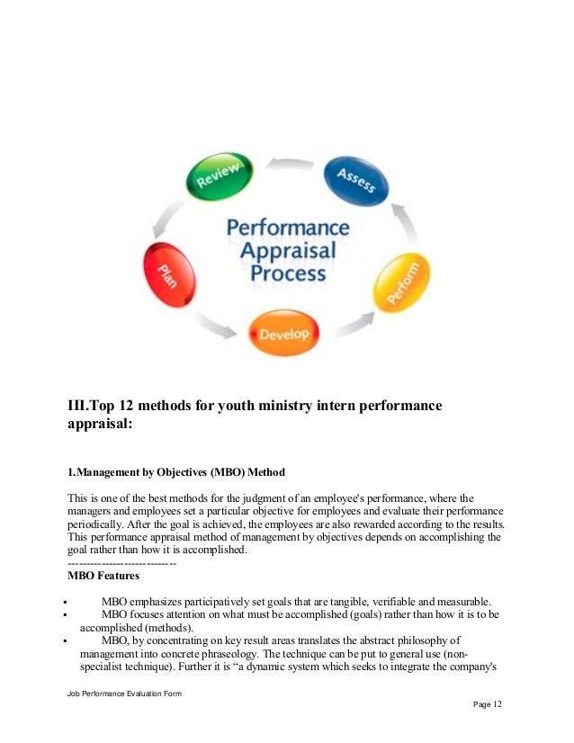 Youth ministry intern performance appraisal