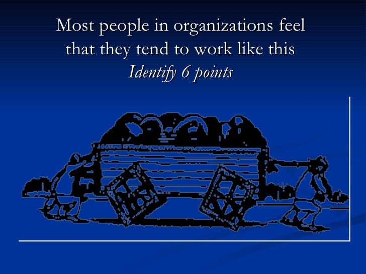 Most people in organizations feel that they tend to work like this Identify 6 points