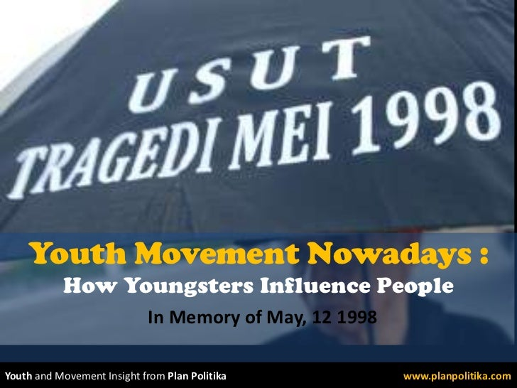 Youth Movement Nowadays : How Youngsters Influence People<br />In Memory of May, 12 1998<br />Youth and Movement Insight f...