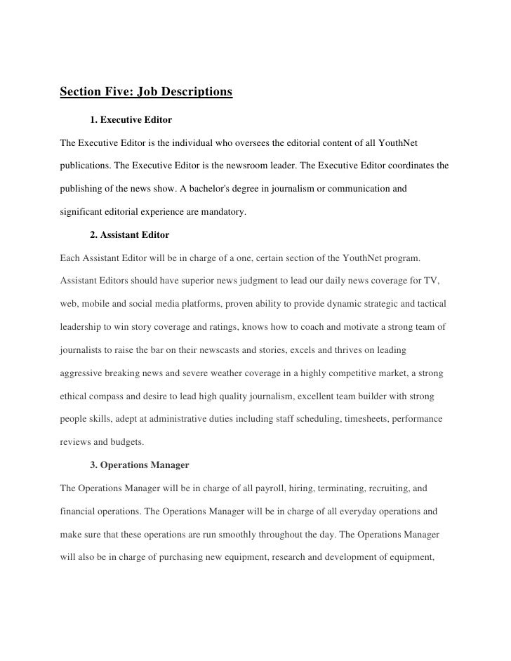14. Section Five: Job Descriptions 1. Executive EditorThe Executive Editor  ...