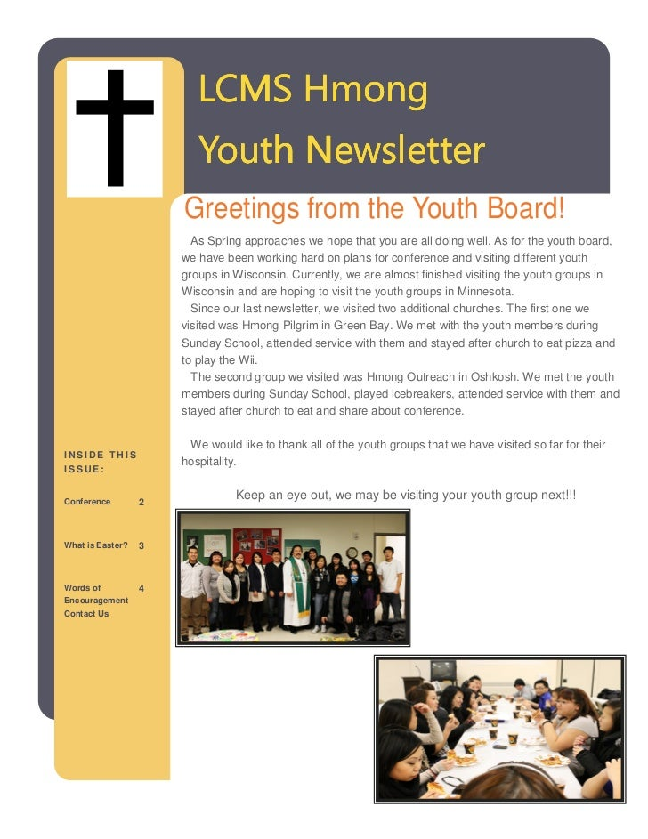 LCMS Hmong                         Youth Newsletter                      Greetings from the Youth Board!                  ...