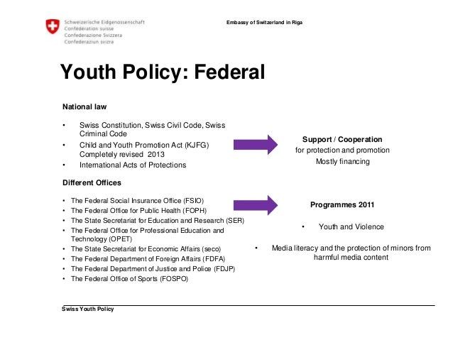 Swiss Youth Policy  Embassy of Switzerland in Riga  Youth Policy: cantonal / municipal  • Own youth projects  • Financing ...