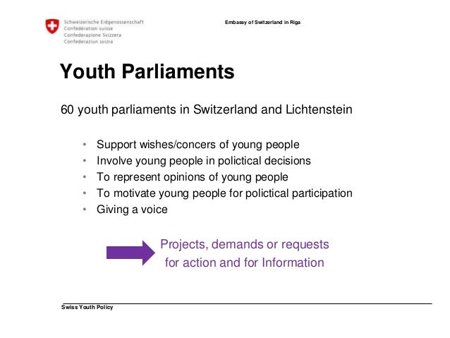 Swiss Youth Policy  Embassy of Switzerland in Riga  Youth Parliaments
