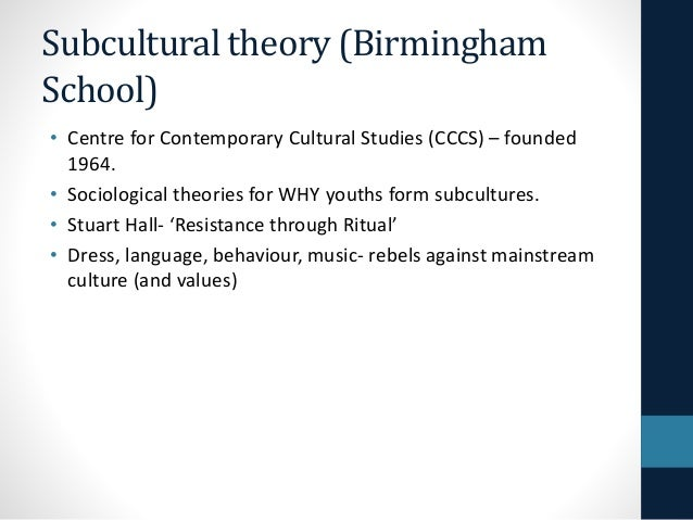 subcultural theories of youth culture Subcultures or neo-tribes rethinking the relationship between youth, style and musical taste andy bennett abstract despite the criticisms of subcultural theory as a framework for the socio-.