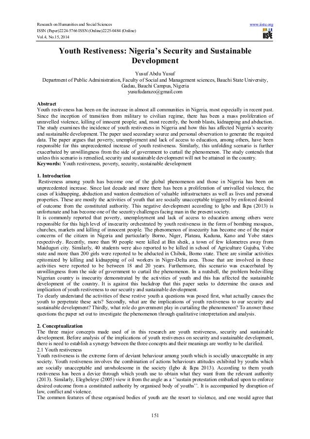 literature review on youth restiveness