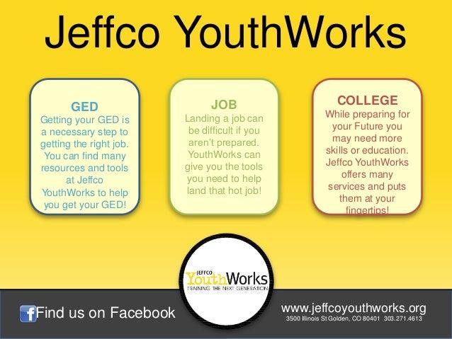 Jeffco YouthWorks       GED                     JOB                               COLLEGE                         Landing ...