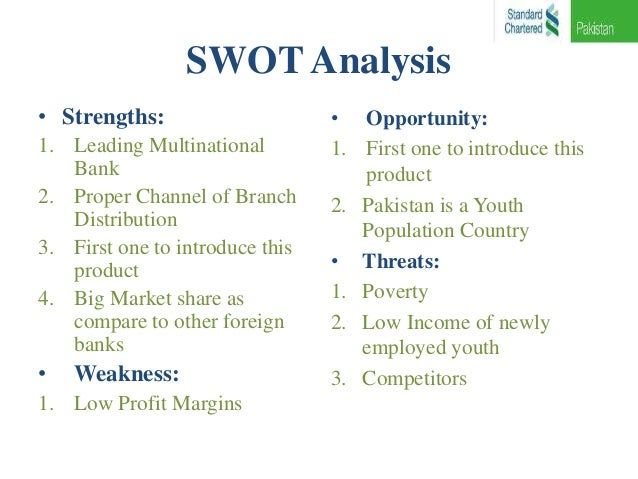swot analysis standard bank Do any one have swot analysis of standard chartered bank 5 years ago reply are you sure you want to  the standard bank of british south africa, founded in 1863, and the chartered bank of india, australia and china, founded in 1853.