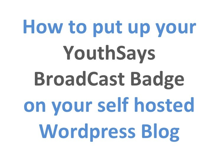 How to put up your  YouthSays BroadCast Badge on your self hosted Wordpress Blog