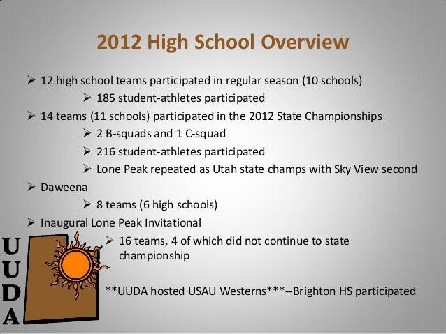 2012 High School Overview 12 high school teams participated in regular season (10 schools)           185 student-athlete...