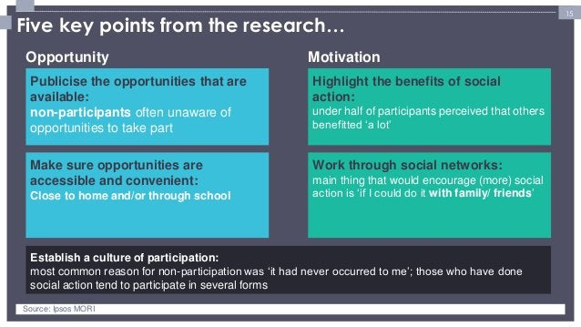 15  Publicise the opportunities that are available: non-participants often unaware of opportunities to take part  Establis...