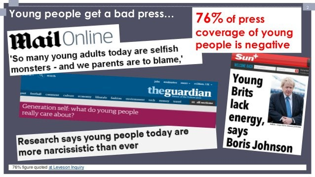 2  Young people get a bad press…  76% of press coverage of young people is negative  76% figure quoted at Leveson Inquiry