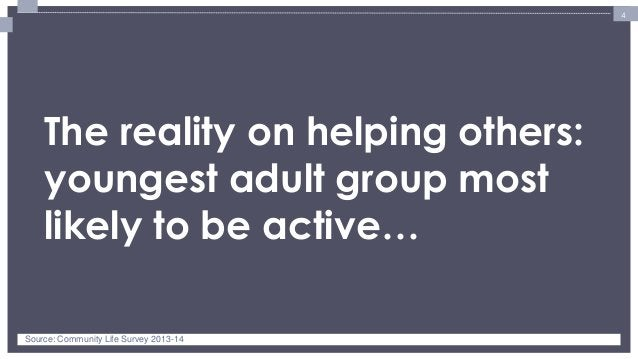 4  The reality on helping others: youngest adult group most likely to be active…  Source: Community Life Survey 2013-14
