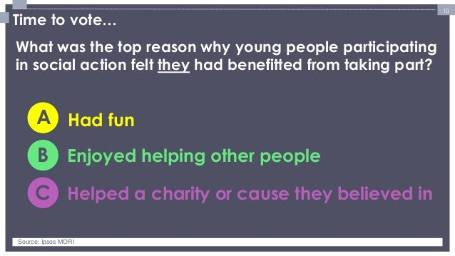 10  Time to vote…  What was the top reason why young people participating in social action felt they had benefitted from t...