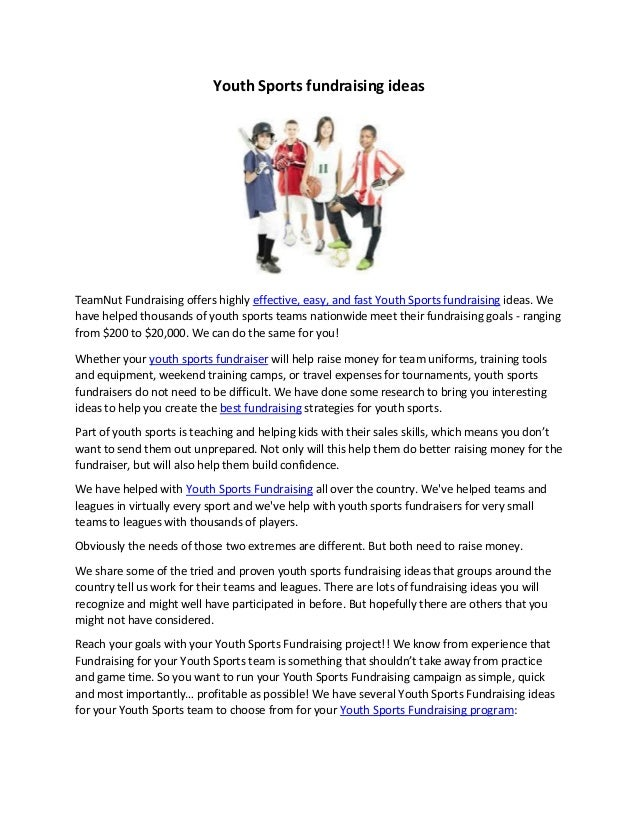 Youth Sports fundraising ideas TeamNut Fundraising offers highly effective, easy, and fast Youth Sports fundraising ideas....