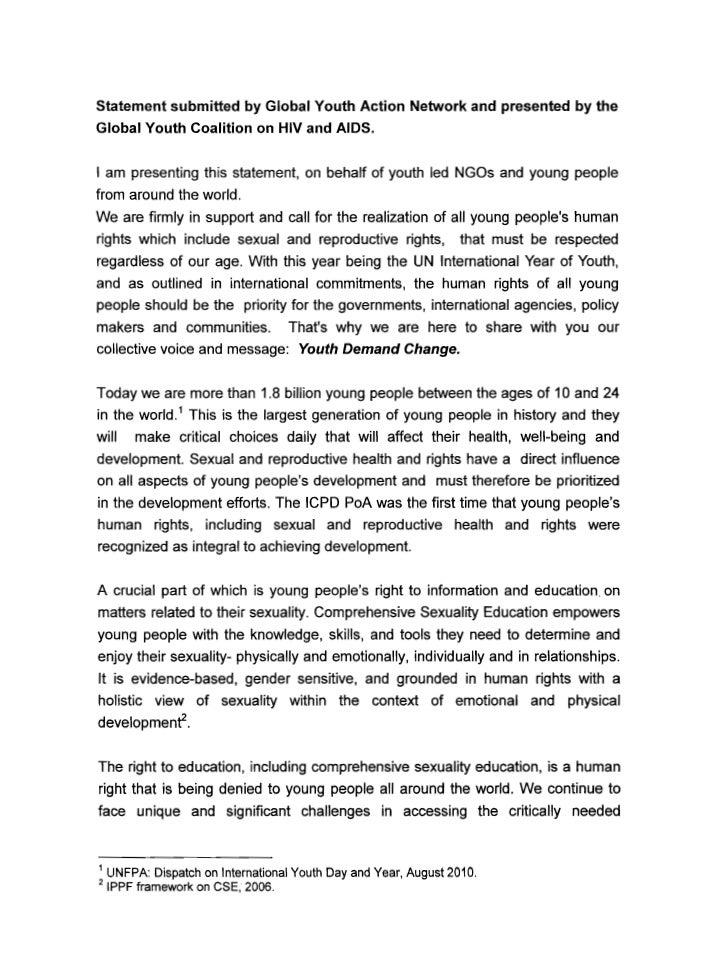Development statement on human sexuality