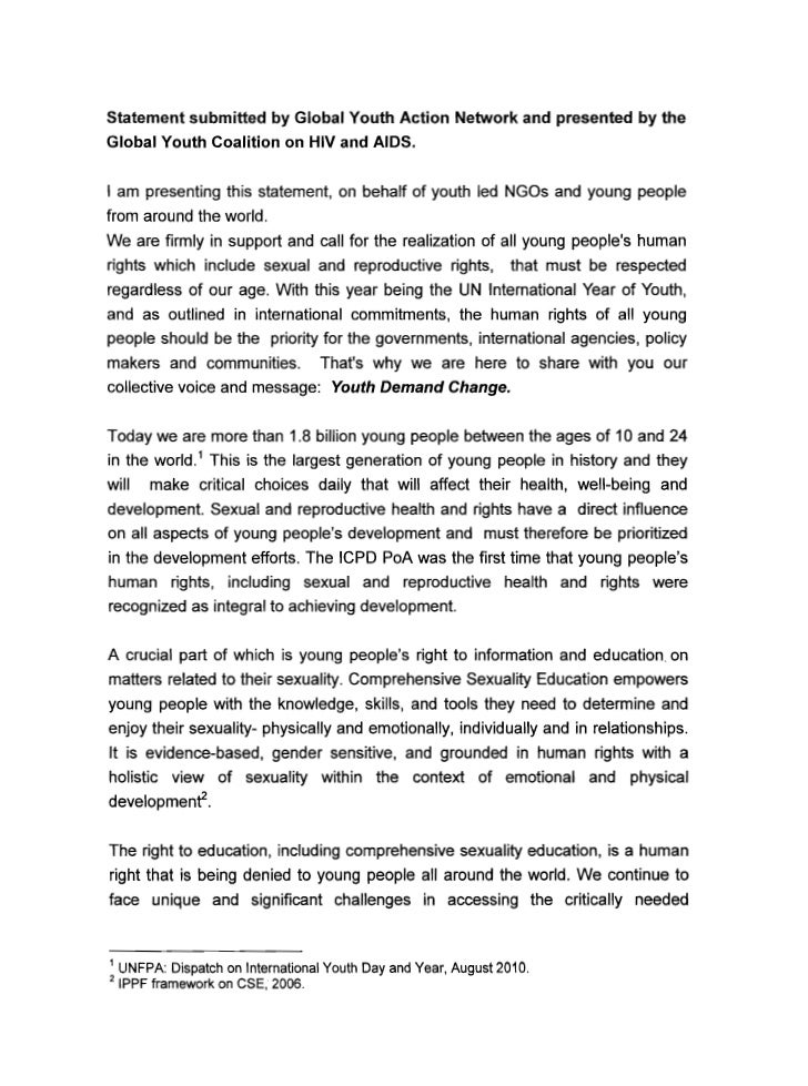 Statement submitted by Global Youth Action Network and presented by theGlobal Youth Coalition on HIV and AIDS.I am present...