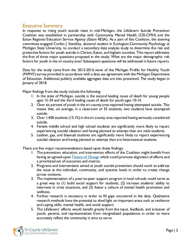Page   2 Executive Summary In response to rising youth suicide rates in mid-Michigan, the LifeSavers Suicide Prevention Co...