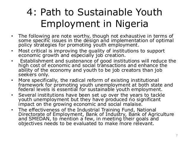 youth restiveness and unemployment in nigeria essay With the exceptions of electricity and infrastructure, youth's unemployment is the third biggest problem confronting our nation today it is the root cause of poverty, youth restiveness, gangsterism, bank robbery, kidnapping, assassination, lawlessness and all sorts of deviant behaviours.