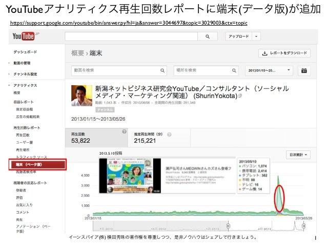 1イーンスパイア(株) 横田秀珠の著作権を尊重しつつ、是非ノウハウはシェアして行きましょう。YouTubeアナリティクス再生回数レポートに端末(データ版)が追加https://support.google.com/youtube/bin/ans...