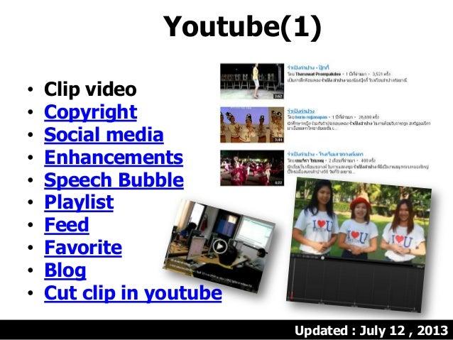 Youtube(1) • Clip video • Copyright • Social media • Enhancements • Speech Bubble • Playlist • Feed • Favorite • Blog • Cu...