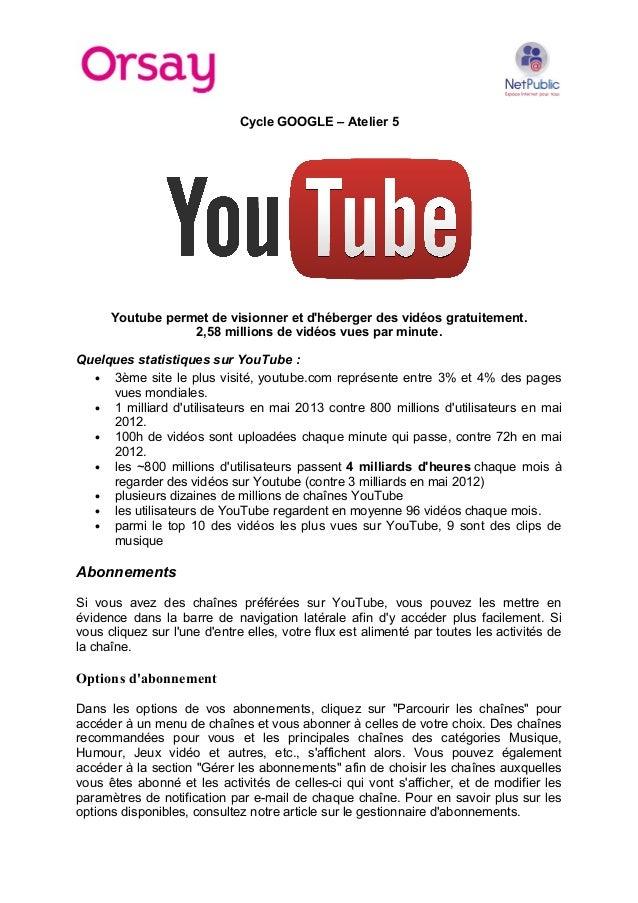 Cycle GOOGLE – Atelier 5  Youtube permet de visionner et d'héberger des vidéos gratuitement. 2,58 millions de vidéos vues ...