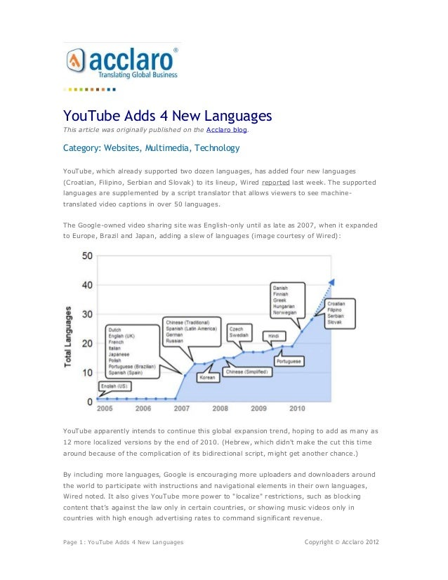 YouTube Adds 4 New LanguagesThis article was originally published on the Acclaro blog.Category: Websites, Multimedia, Tech...