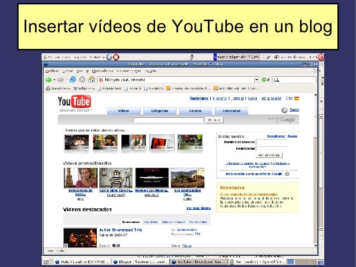 Insertar vídeos de YouTube en un blog