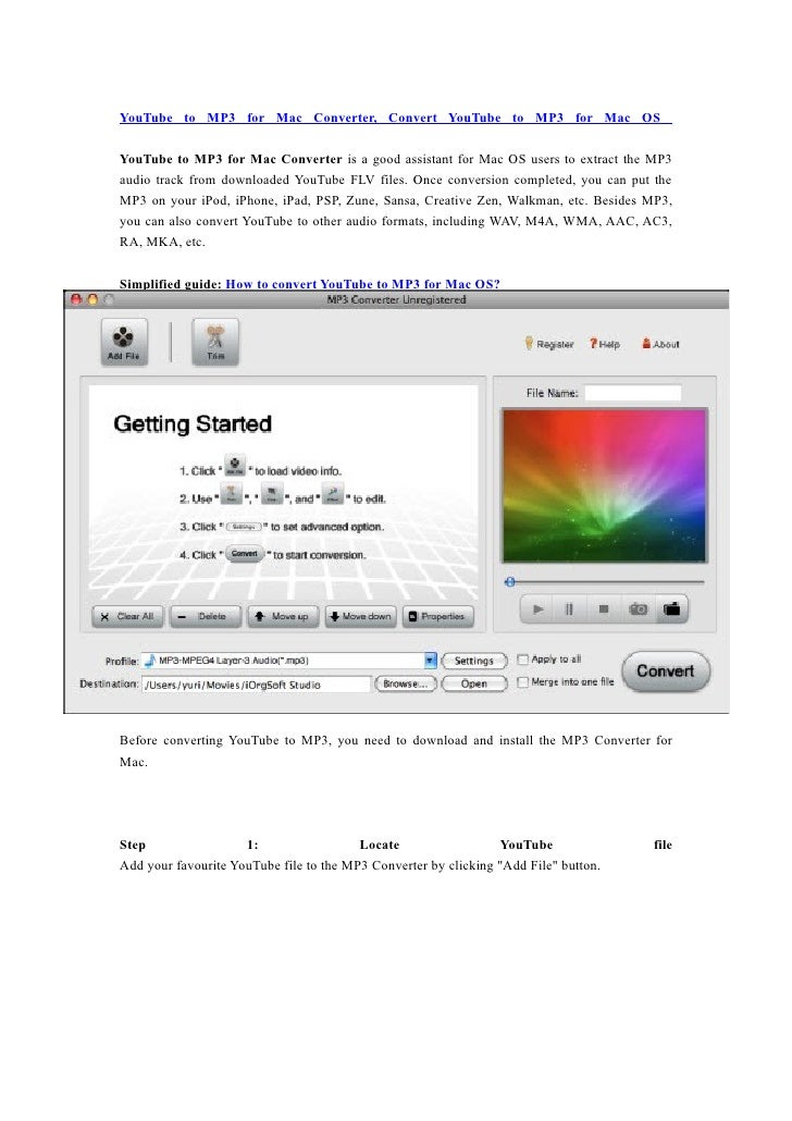YouTube to MP3 for Mac Converter, Convert YouTube to MP3 for Mac OS  YouTube to MP3 for Mac Converter is a good assistant ...