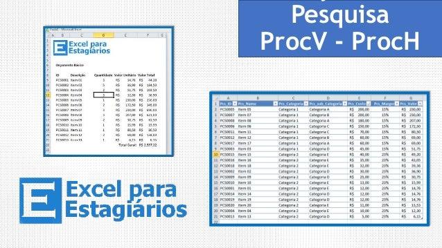 Funções de  Pesquisa  ProcV - ProcH