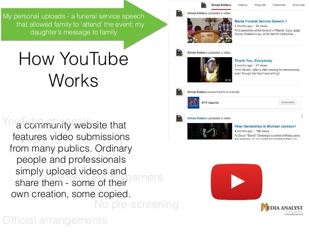 How YouTube Works a community website that features video submissions from many publics. Ordinary people and professionals...