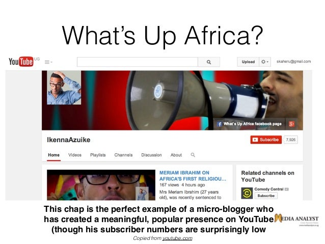 What's Up Africa? Even the 'small fry' make a name for themselves Copied from youtube.com This chap is the perfect example...