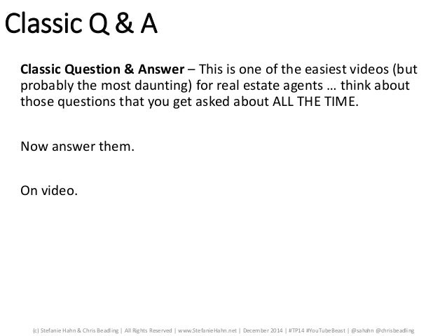 Q and a youtube