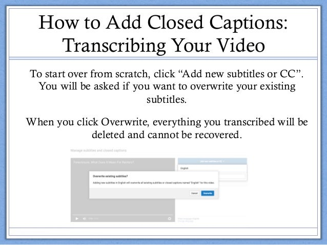 Adding Closed Captions to YouTube Videos