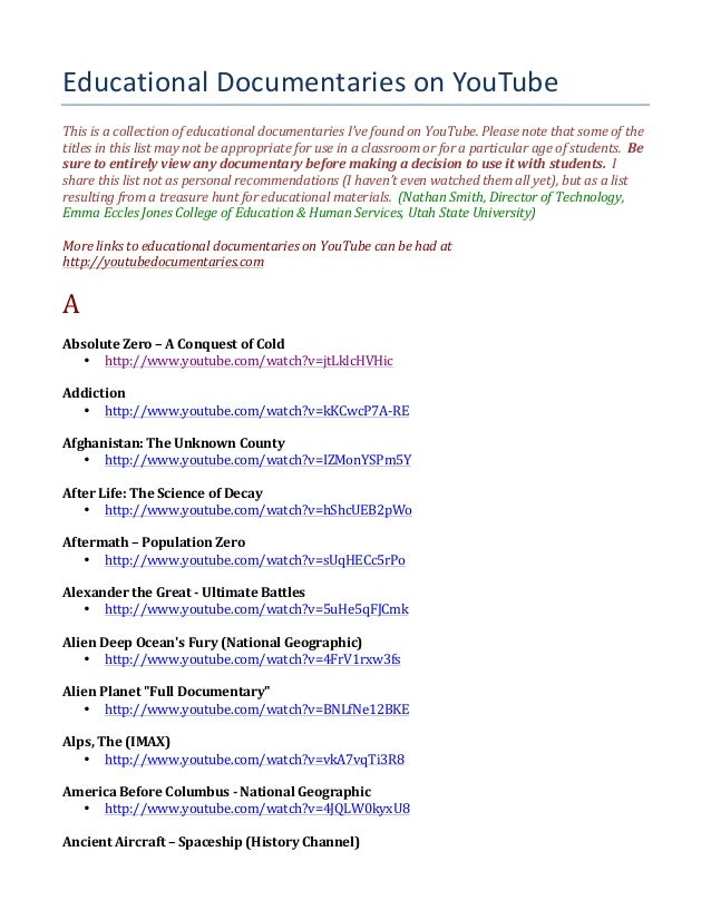 Educational  Documentaries  on  YouTube This  is  a  collection  of  educational  documentaries  I've...