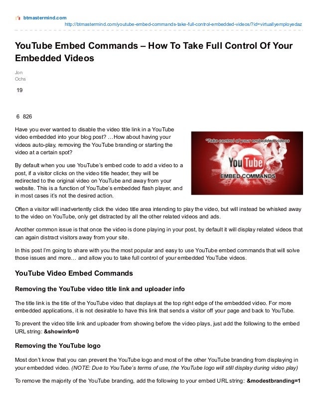 You tube embed commands – How To Take Full Control Of Your Embedded V…