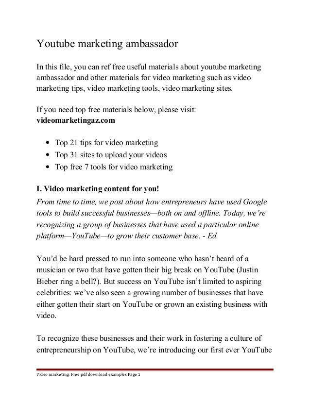 Youtube marketing ambassador  In this file, you can ref free useful materials about youtube marketing  ambassador and othe...